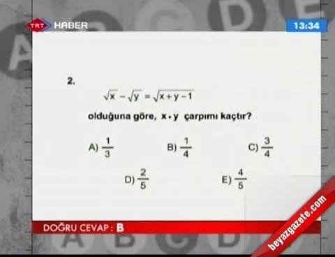 2013 LYS-1 Matematik Soruları ve Cevapları