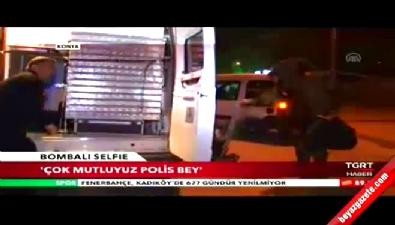 Konya'da şüpheli çanta önünde 'selfie'
