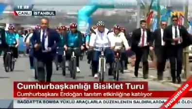 Cumhurbaşkanı Erdoğan, Cumhurbaşkanlığı Türkiye Bisiklet Turu'nda pedal çevirdi