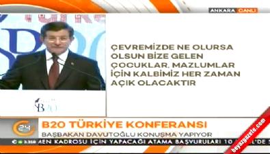 Başbakan Davutoğlu B 20 zirvesinde konuştu