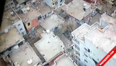 Teröristlerin sığınak olarak kullandığı ev İHA kamerasında