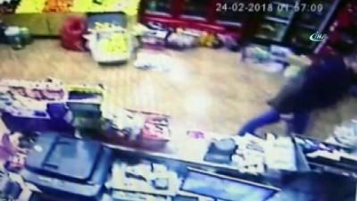 Kameralara yakalanan market soyguncuları araçları bozulunca yakayı ele verdi İzle